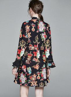 Bowknot Mock Neck Print Flare Sleeve Skater Dress
