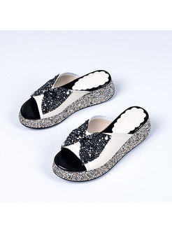 Color Block Bowknot Studded Heel Slippers