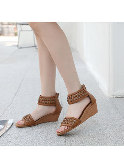 Bohemia Wedge Heel Woven Sandals