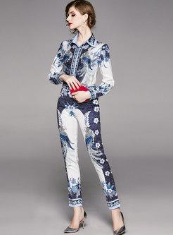 Print Lapel High Waisted Slim Pencil Pant Suits