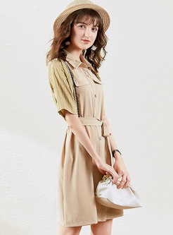Patchwork Lapel Single-breasted Shirt Dress