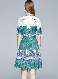 Print Bowknot Pleated Skater Dress
