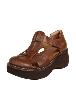 Rounded Toe Openwork Wedge Heel Shoes