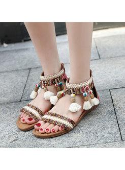 Bohemia Print Fringed Zipper Sandals