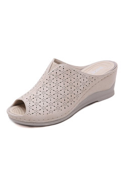 Wedge Heel Peep Toe Openwork Slippers