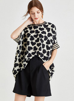 Heart Pattern Bat Sleeve Loose T-shirt