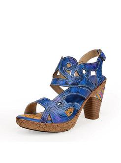 Vintage Block Heel Peep Toe Buckle Sandals