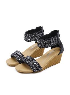 Bohemia Wedge Heel Sequin Sandals