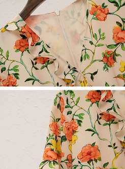 Floral V-neck Tied Asymmetric Skater Dress