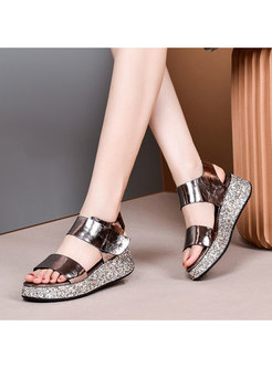 Casual Glitter Rounded Toe Platform Sandals