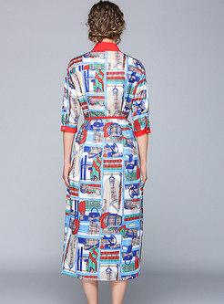 Color Block Tied Side-slit Shirt Dress