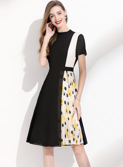 Color Block Patchwork Dot Skater Dress
