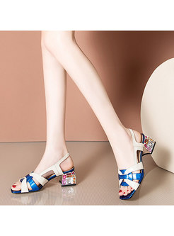 Square Toe Studded Heel Sandals