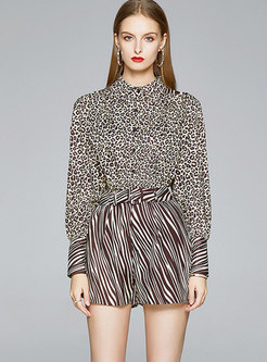Leopard Stand Collar Belted Shorts Suit