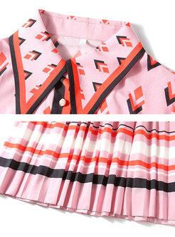 Geometric Print Bowknot Pleated Skater Dress