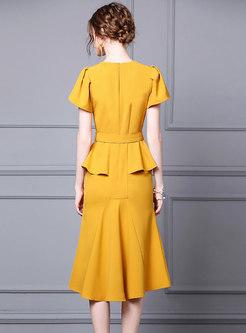 Elegant Belted Asymmetric Peplum Dress