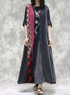 Color Block Plaid Linen Long Coat