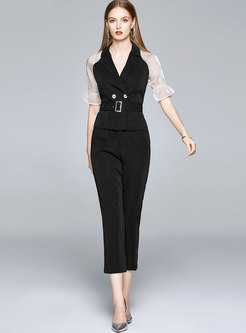 Color-blocked Patchwork Belted Pant Suits