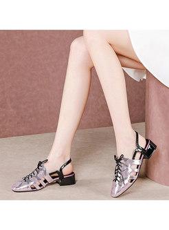 Snakeskin Pattern Lace-up Block Heel Sandals