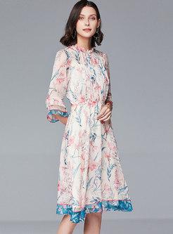 Print Elastic Waist Ruffel A-line Dress