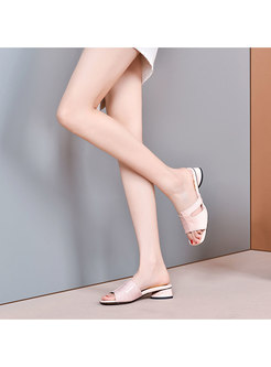 Square Toe Patchwork Chunky Heel Slippers