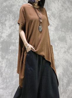Vintage Plaid Asymmetric Linen Top