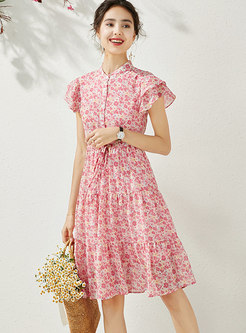 Mock Neck Floral Drawstring Skater Dress