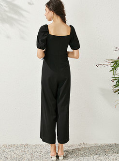 Square Neck Ruched Belted Jumpsuits