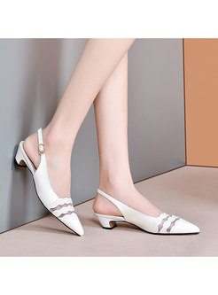 Chunky Heel Openwork Pointed Toe Sandals