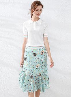 Polo Collar Knit Top & Floral Peplum Skirt