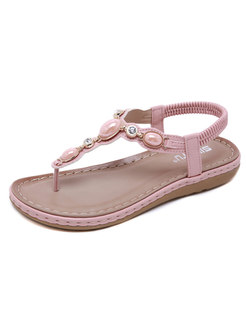 Rhinestone Flat Thong Beach Sandals