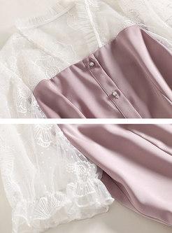 Lace Patchwork Slim Short Pant Suits