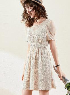 Print Slip Dress & Jacquard Tied Skater Dress