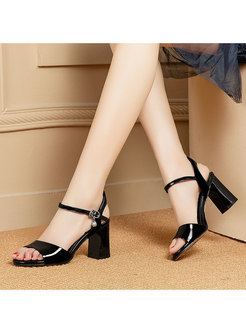 Block Heel Open Toe Solid Color Sandals