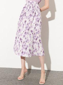 Floral Elastic Waist Pleated A-line Skirt