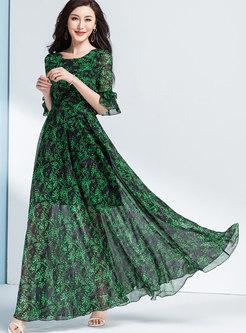 Chiffon Floral Flare Sleeve Maxi Beach Dress