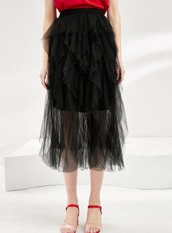 Elastic Waist Mesh Asymmetric Cake Skirt