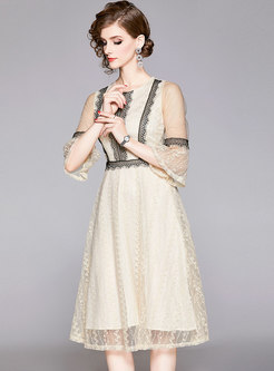Flare Sleeve Lace Patchwork Skater Dress