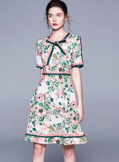 Tie-collar Print Slim Skater Dress