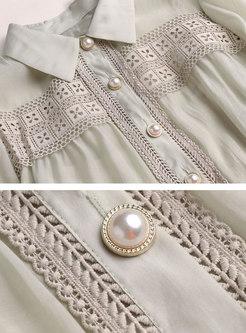 Lantern Sleeve Openwork Slim Shirt Dress