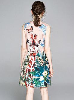 Crew Neck Sleeveless Print Bodycon Dress