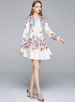 Lantern Sleeve Floral Mini Skater Dress