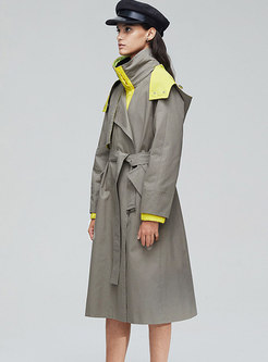 Color-blocked Hooded Tie Long Trench Coat