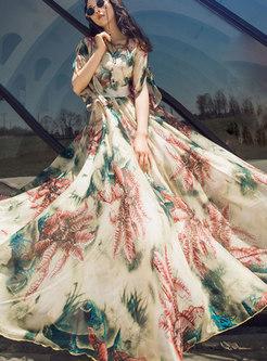 V-neck Print Big Hem Chiffon Maxi Dress