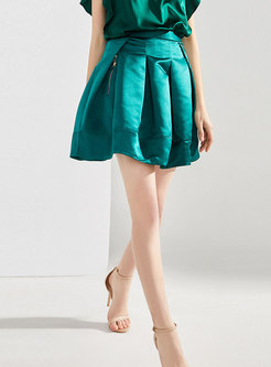 Solid Color High Waisted A Line Mini Skirt