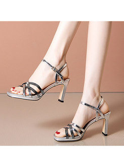 Square Toe Drilled High Heel Sandals