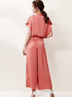 V-neck Ribbon Loose Blouse & Wide Leg Pants
