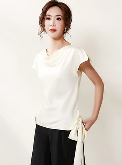 Cowl Neck Pullover Side Bowknot T-shirt