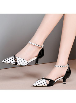 Pointed Toe Polka Dot Patchwork Heels
