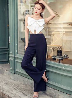 White Bowknot Camisole & High Waisted Palazzo Pants